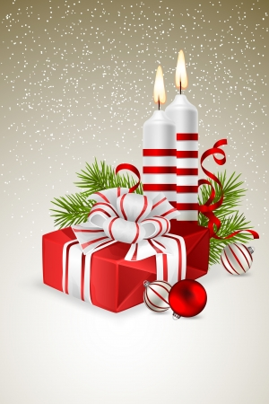 Christmas background with Christmas gift, candles and fir branches