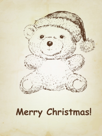 teddy bear christmas: Hand drawn Teddy bear with Christmas hat