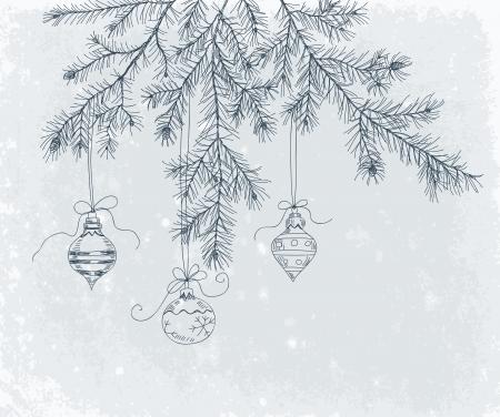 motivos navideños: Dibujado a mano rama de abeto con la decoración de Navidad