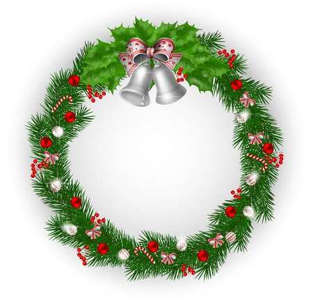 Christmas wreath with bells and decoration Vector