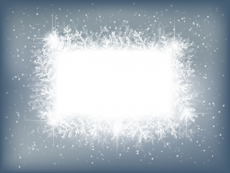 Winter background with fir branches and falling snow Stock Illustratie