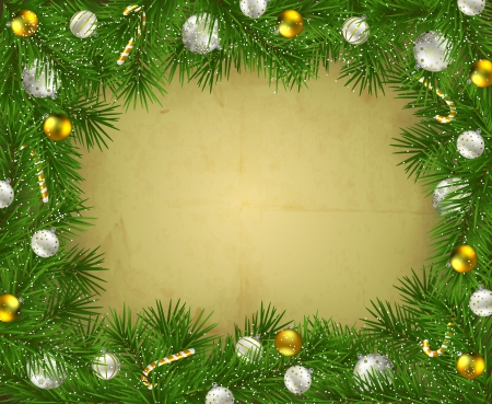 Frame of fir branches decorated with baubles and candy canes