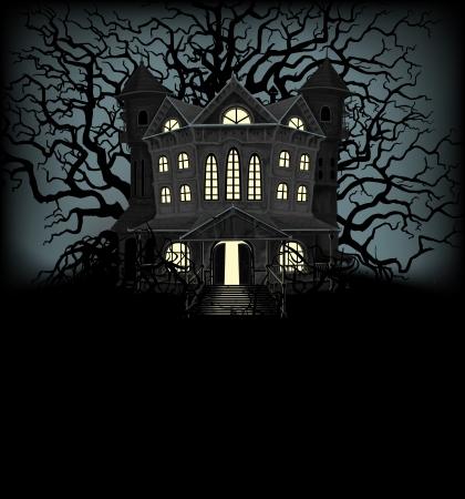 жуткий: Хэллоуин фон с привидениями дома и жутких деревьев