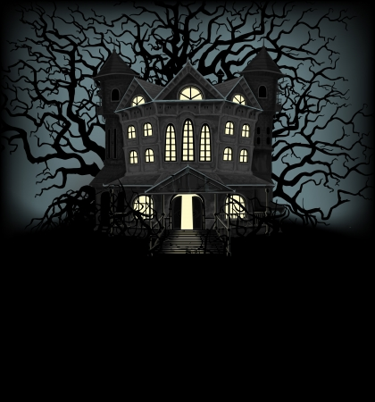 Halloween background with haunted house and creepy trees Stock Illustratie