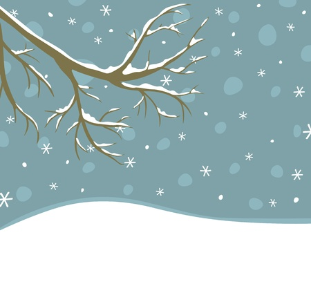 Winter background with tree branch  and falling snow Vector