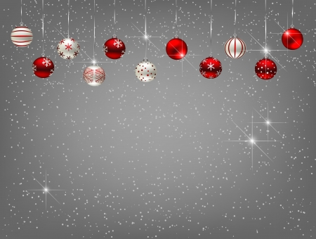 Christmas background with baubles and falling snow Stock Illustratie