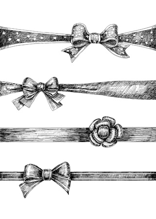 silk ribbon: Collection 4 hand drawn bows