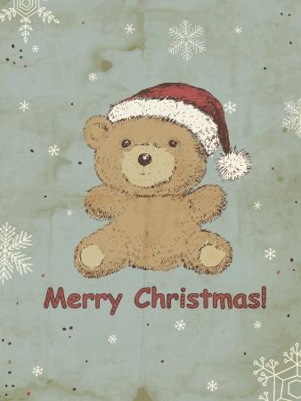 kerstmuts: Hand getrokken Teddybeer met kerstmuts Stock Illustratie