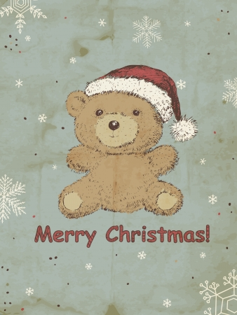 Hand drawn Teddy bear with Christmas hat