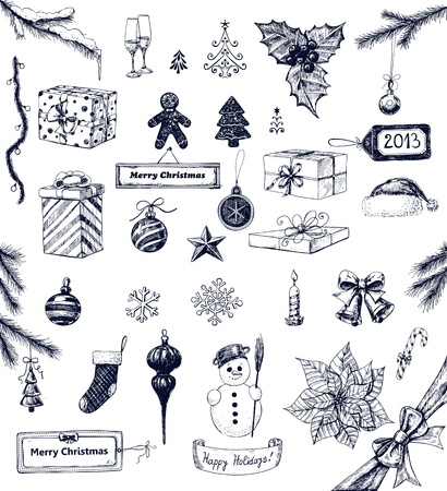 Hand drawn collection of Christmas related objects