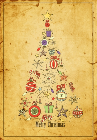 Hand -drawn Christmas tree on grunge background Vector