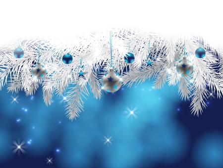Fir branches decorated with Christmas baubles, stars and garlands