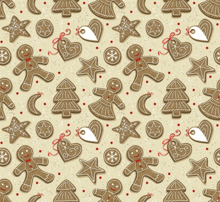 cioccolato natale: Seamless pattern con i biscotti di Natale