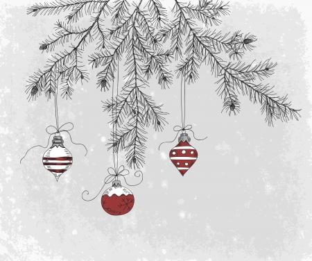 sapin: Main dessinée branche de sapin avec décoration de Noël Illustration