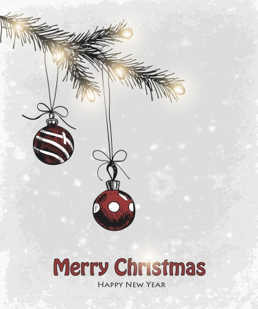 Hand drawn fir branch with Christmas decoration Vector