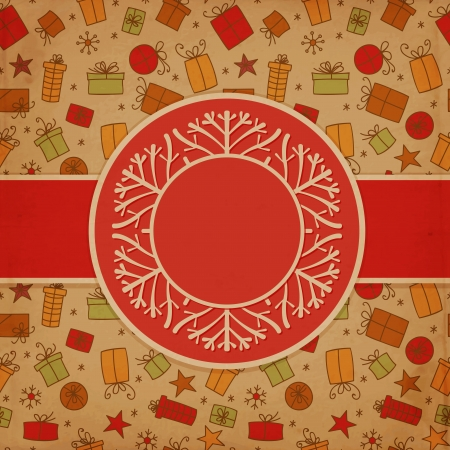 candle flame: Hand drawn Christmas card with label