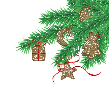 christmas cookies: Fir branches decorated with Christmas cookies