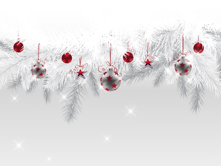 christmas  ornament: Fir branches decorated with Christmas baubles and stars  Illustration