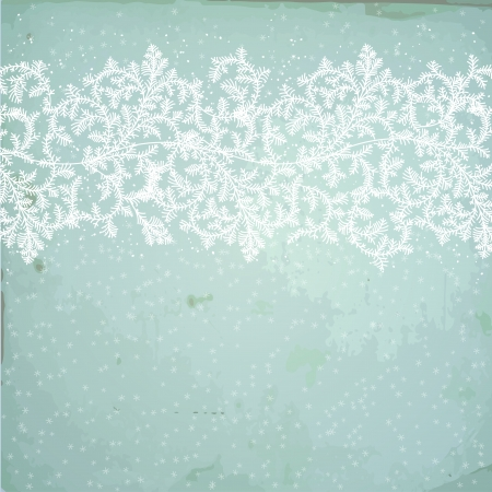 Winter background with snowflakes and fir branches Stock Vector - 16703749