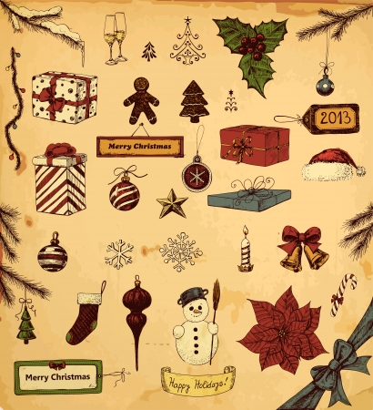 Hand drawn collection of Christmas related objects Vector