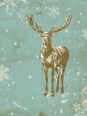 Hand - drawn background with deer and falling snow
