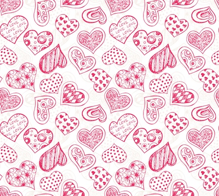 Seamless pattern with red hand - drawn hearts Stock Vector - 17192500