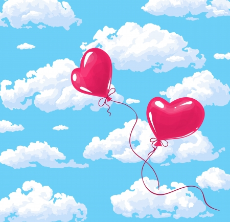 Two heart shaped red balloons on cloudy sky background Stock Vector - 17192494