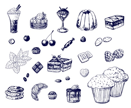Collection of various hand-drawn desserts Vector