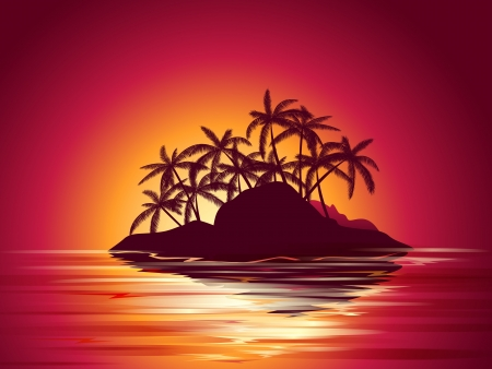 sundown: background illustration of tropical island with  palms at sunset
