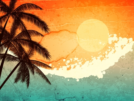 illustration of tropical sea and  palms at sunset Stock Vector - 17435487