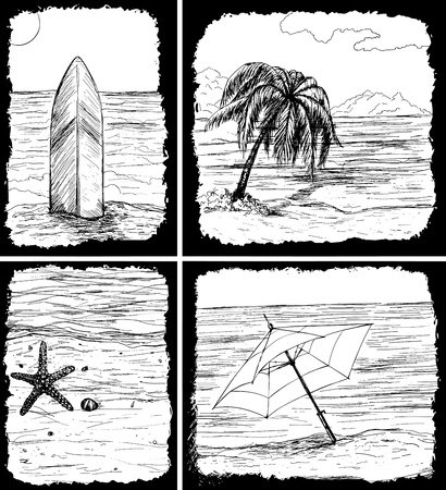 wind surfing: Set of 4 hand-drawn summer cards