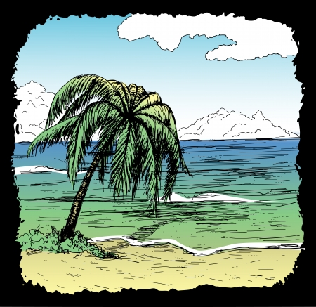 wind surfing: Hand-drawn tropical beach with palm