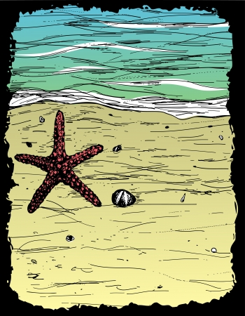 Hand-drawn summer card with sand, water and seastar Stock Vector - 17702747