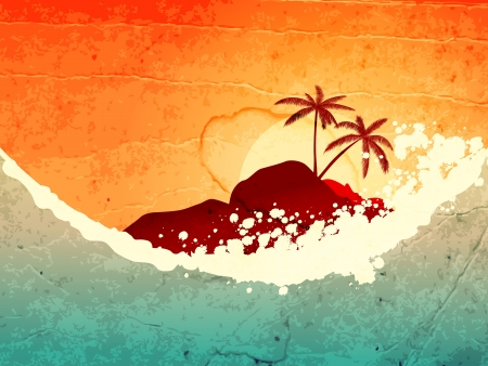 wind surfing:  illustration of tropical sea and island with palms at sunset