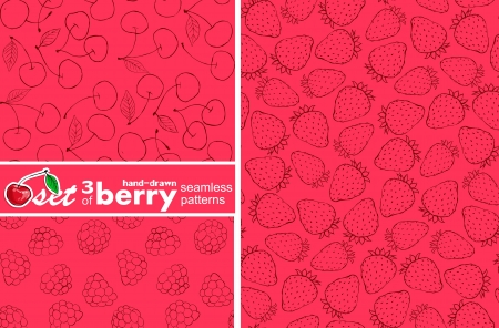 set of 3 seamless berry patterns Vector