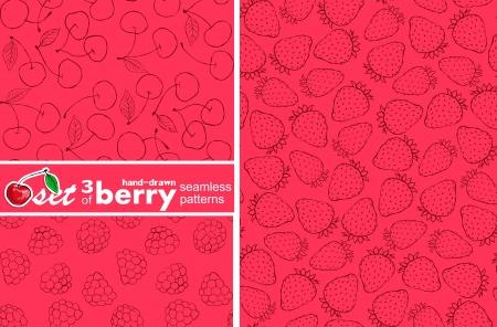set of 3 seamless berry patterns