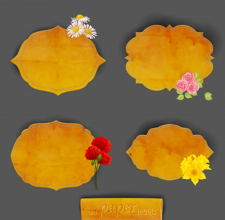 Set of 4 old paper label with flowers Vector