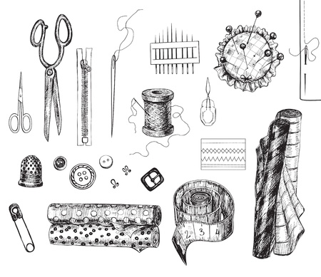 needle cushion: Set of various hand - drawn sewing related objects Illustration