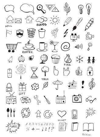 llave de sol: Conjunto de varios iconos dibujados a mano
