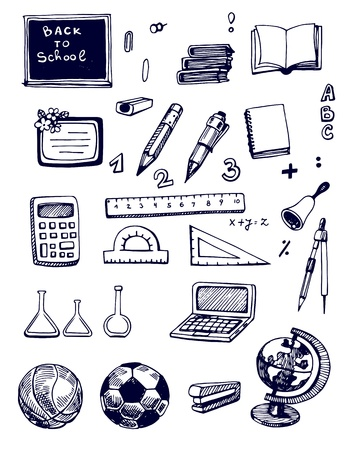 Hand - drawn  Back to School set Vector