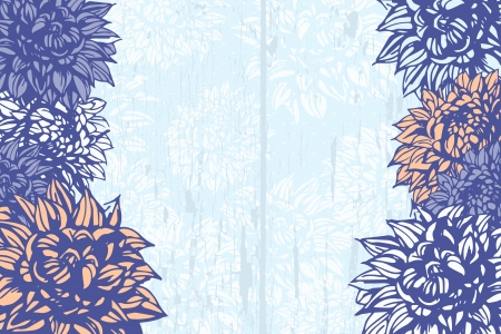 Grunge background with hand-drawn dahlias Vector