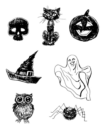Collection of hand- drawn Halloween related items Vector