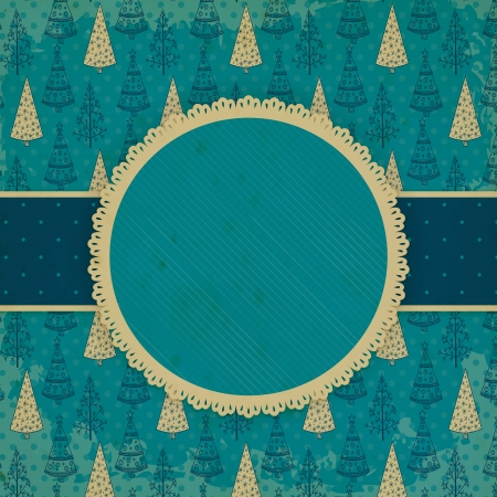 Christmas card with old stained label and pattern of fir trees Vector