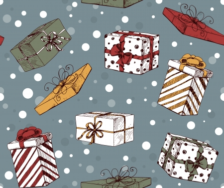Seamless pattern with hand - drawn Christmas gifts and falling snow Vector