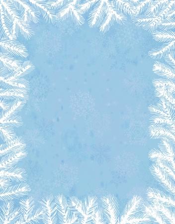 Fir frame on grunge snowflake background Vector