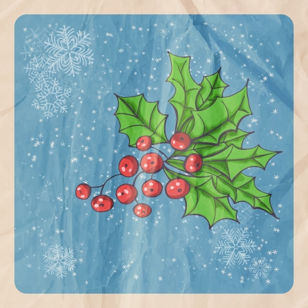 Retro Christmas background with Holly berry, falling snow and old crumpled paper texture Illustration
