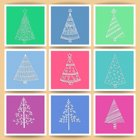 Set of 9 paper cards with hand- drawn Christmas trees Vector