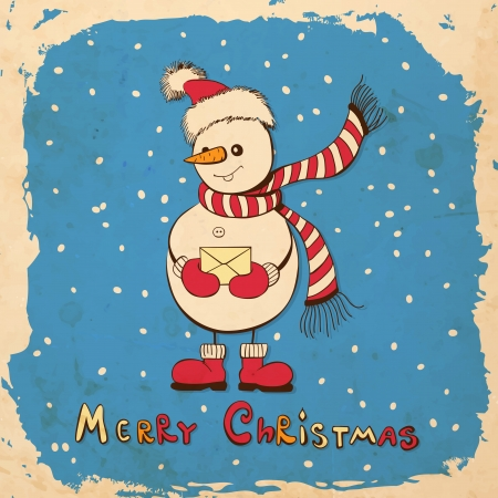 Hand - drawn snowman with Christmas hat holding envelop on blue background with falling snow and grunge frame, square Christmas background with old paper texture Stock Illustratie