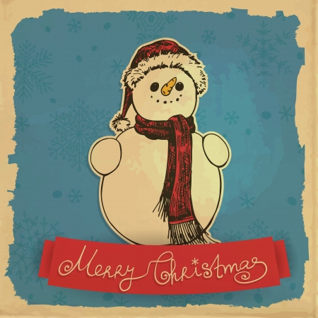 Hand - drawn illustration, Smiling snowman with Christmas hat and red shawl, snowflakes and grunge frame on old paper background