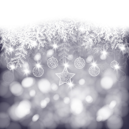 snow background: Winter background, white fir branches decorated with baubles and star on bokeh background, Christmas card Illustration